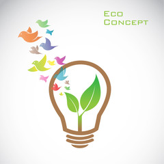Vector bulb and birds and leaves. eco concept