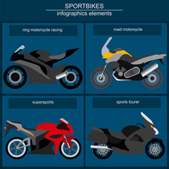 Set of elements sportbikes for creating your own infographics or