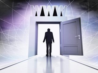 walking person to WWW sites behind magic doorway background