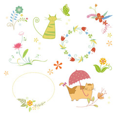 set of cartoon characters and holiday graphic elements