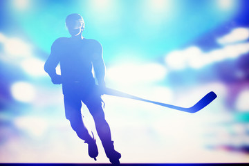 Hockey player skating on ice in arena night lights