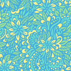 Blue flowers. Seamless decorative pattern.