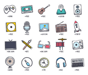 Doodle music and event icon set
