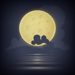 Yellow moon. Vector illustration