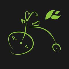 Green eco bike. Vector illustration