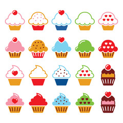 Cupcake with heart, cherry and sparkles cute icons set