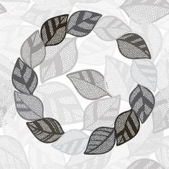 Seamless monochrome pattern with  abstract leaves.