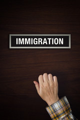 Hand is knocking on Immigration office door