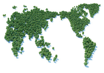 World map forest