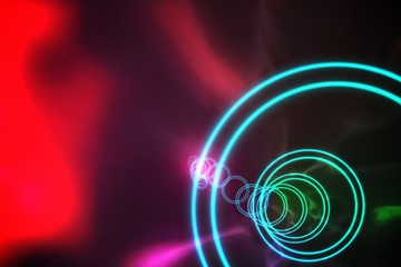 Colourful spiral with red glow
