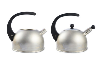 Old metal stovetop kettle isolated