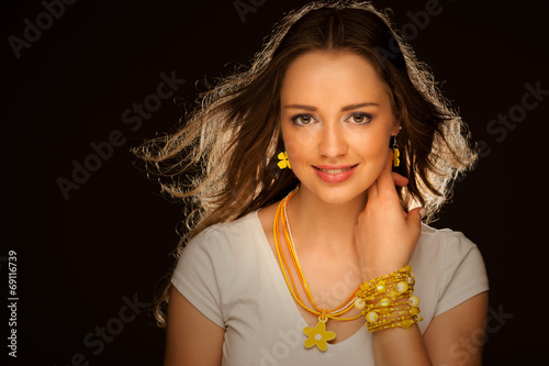canvas print picture Beauty studio portrait of a beautiful young attractive woman