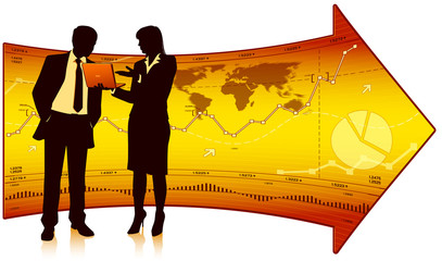 Businesswoman shows laptop to businessman