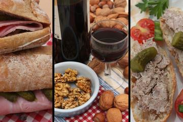 Buffet campagnard : Vin rouge - Casse croûte