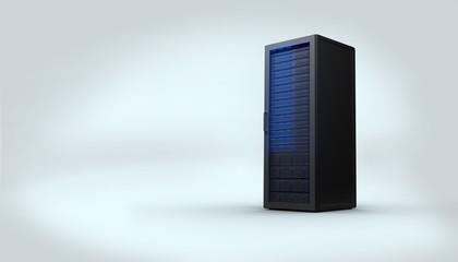 Digitally generated black server tower