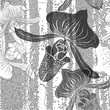 Monochrome seamless pattern with orchids. Hand-drawn floral back