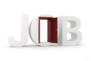 3d job text and door, on white background