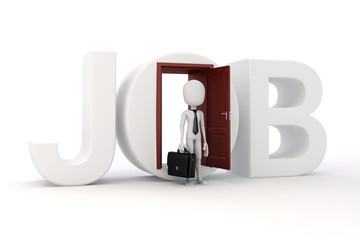 3d man new job opportunity, economy concept