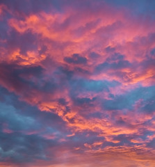 Vibrant clouds at sunset