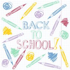 Back to school, cartoon vector illustration.