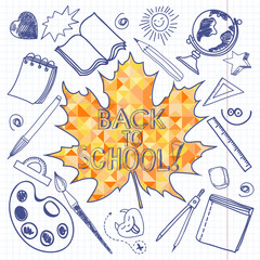 Back to School doodles seamless background with mosaic maple lea