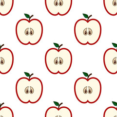 Red cut apples pattern
