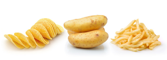 Potato chips, french fries and potato isolated on white backgrou