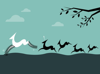 Silhouette of a herd of deer on blue background. Concept creativ