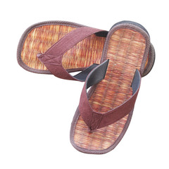 pair of brown sandals (made from sedge) on white background