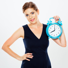 Business woman hold watch. White background isolated.