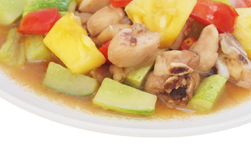 Sweet and sour sauce fried with chicken ,Thai recipe