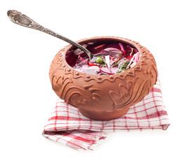 Beet soup - borsch in ceramic pots