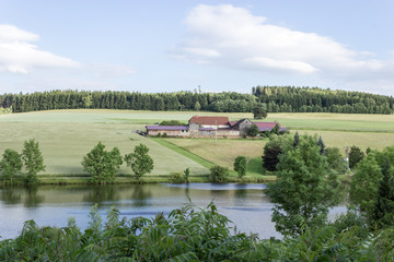 Peaceful scenery in bavaria at a small lake