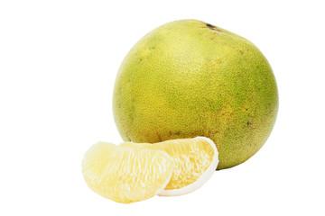 peeled ripe green pomelo on white background