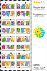 Visual puzzle - match the halves - colorful flip-flops