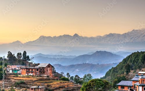 Fotobehang Nepal Bandipur village in Nepal, HDR photography