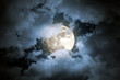 canvas print picture - Cloudy full moon night