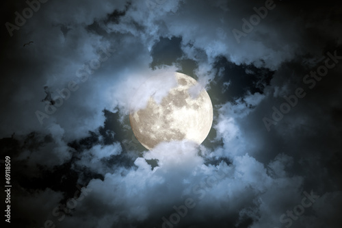 canvas print picture Cloudy full moon night