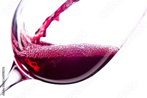 Red wine on white background - 69118576