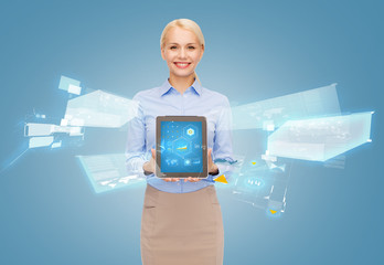 businesswoman holding tablet pc with hologram