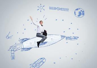 Man on rocket