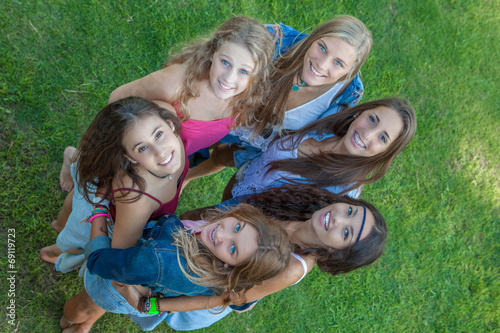 canvas print picture group of happy students looking up