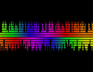 illustration  of music colorful equaliser bar in black
