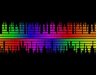 illustration  of music colorful equaliser bar in black