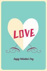 Vector illustration with heart paper  and