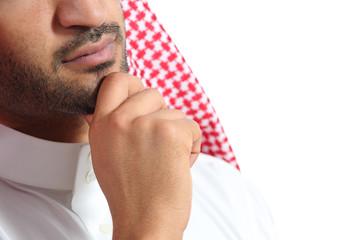 Close up of an arab saudi emirates man thinking
