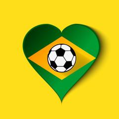 Brazil Heart icon with Brazilian Flag