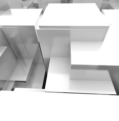White 3D Blocks Background