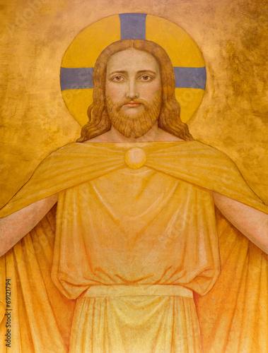 Fototapeta Vienna - Jesus Christ modern fresco in Carmelites church