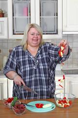 Big woman in kitchen